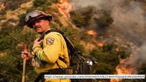 California fires: Destructive rapidly spreading fires achieve LA – Several firefighters fight burst