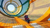COLOR MOTORBIKE & BMX Bikes Extreme Jumping w/ Spiderman Superheroes Cartoon for Kids