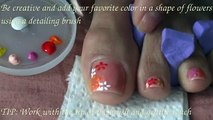 Toes art design Land of flowers-Summer into Fall-Autumn - colorful toes art - one brush