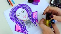 DISNEY DESCENDANTS Back to sChOOL Highlighter Set. Learn How to draw MAL and EVIE