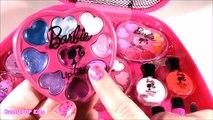Barbie JET SET MAKEUP CASE! Lip BALM LIP Gloss Palette! Paint Press On Nails with Barbie Polish! FUN