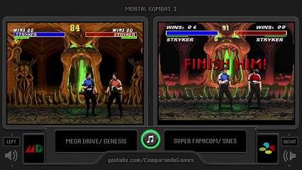 Mortal kombat 3 (Sega Genesis vs Snes) All Fatalities Comparison (Side by  Side)