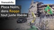 Place Naïm, le 17 octobre, dans Raqqa tout juste libérée