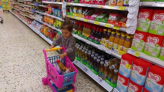Baby Doing Grocery Shopping -- Toy Shopping Cart / Juguete carrito de la compra