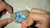How to paint a butterfly on a rock - Rock painting