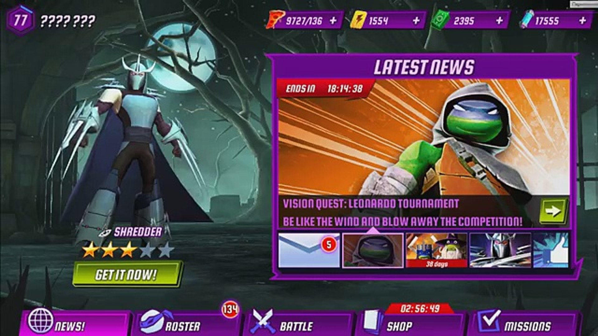 ICKITTY, LEO (VQ), MIKE, Mike (Movie), Raph (LARP) fight in SWIFT CLASS TMNT Legends Event gameplay