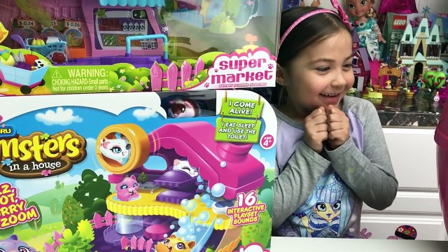BIG SURPRISE EGG HAMSTERS IN A HOUSE Cute Hamster Home Toilet Grocery Store Fruits Poppy & Sprinkles