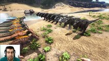 ARK Survival Evolved Allosaurus VS T-REX Batalla dinosaurios arena gameplay español