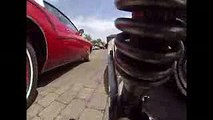One wheel unicycle on board cam, classic car show May 2016 #37