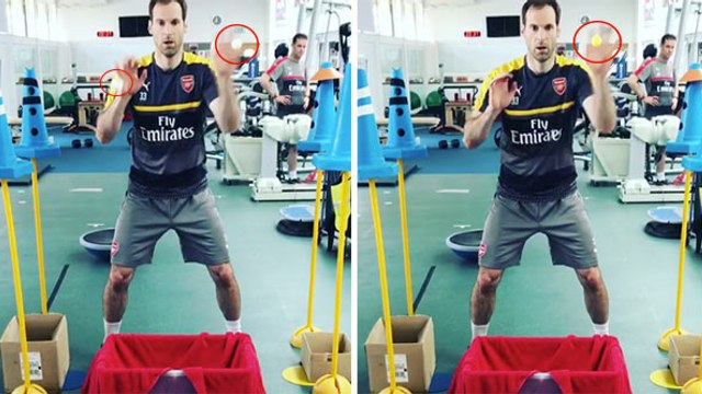 Arsenal Goalkeeper Petr Cech Uses Ping Pong Machine For Hand-Eye Coordination