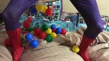 Biker SpiderMan riding CAR SuperHero Frozen Elsa Burst balloon & Eats McDonalds Funny video IRL