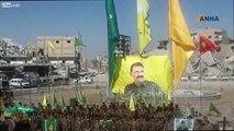 America's Syrian Kurd 'democratic' allies in Raqqa pose with banners of the non Syrian kurdish terrorist, Abdullah Ocalan