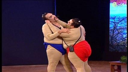 مباراة السومو بطريقة كوميديه علي طريقة نجوم تياترو مصر مش هتقدر تمسك نفسك من الضحك