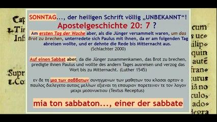 """SONNTAG..., der heiligen Schrift völlig """"UNBEKANNT""""!"""