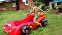 Little Babies Playing in Pool Lightning Mcqueen Cars, WATER Balloons Summer Fun Pool Games for kids
