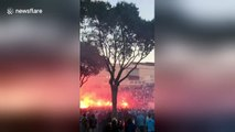 OM fans light up flares in front of Stade Velodrome in Marseille