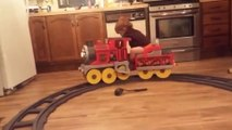 Toddler Takes Naps On Toy Train