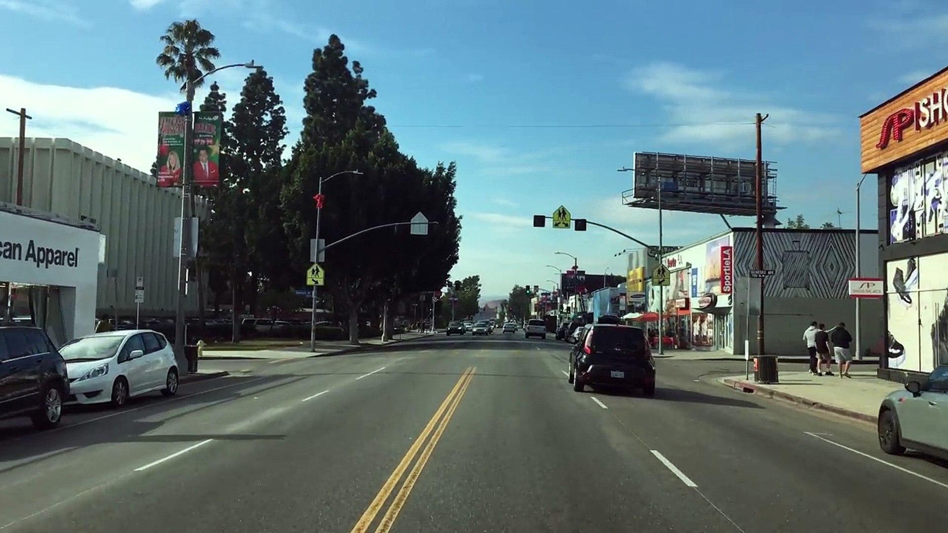 Driving Downtown - LAs Melrose Avenue - Los Angeles California USA
