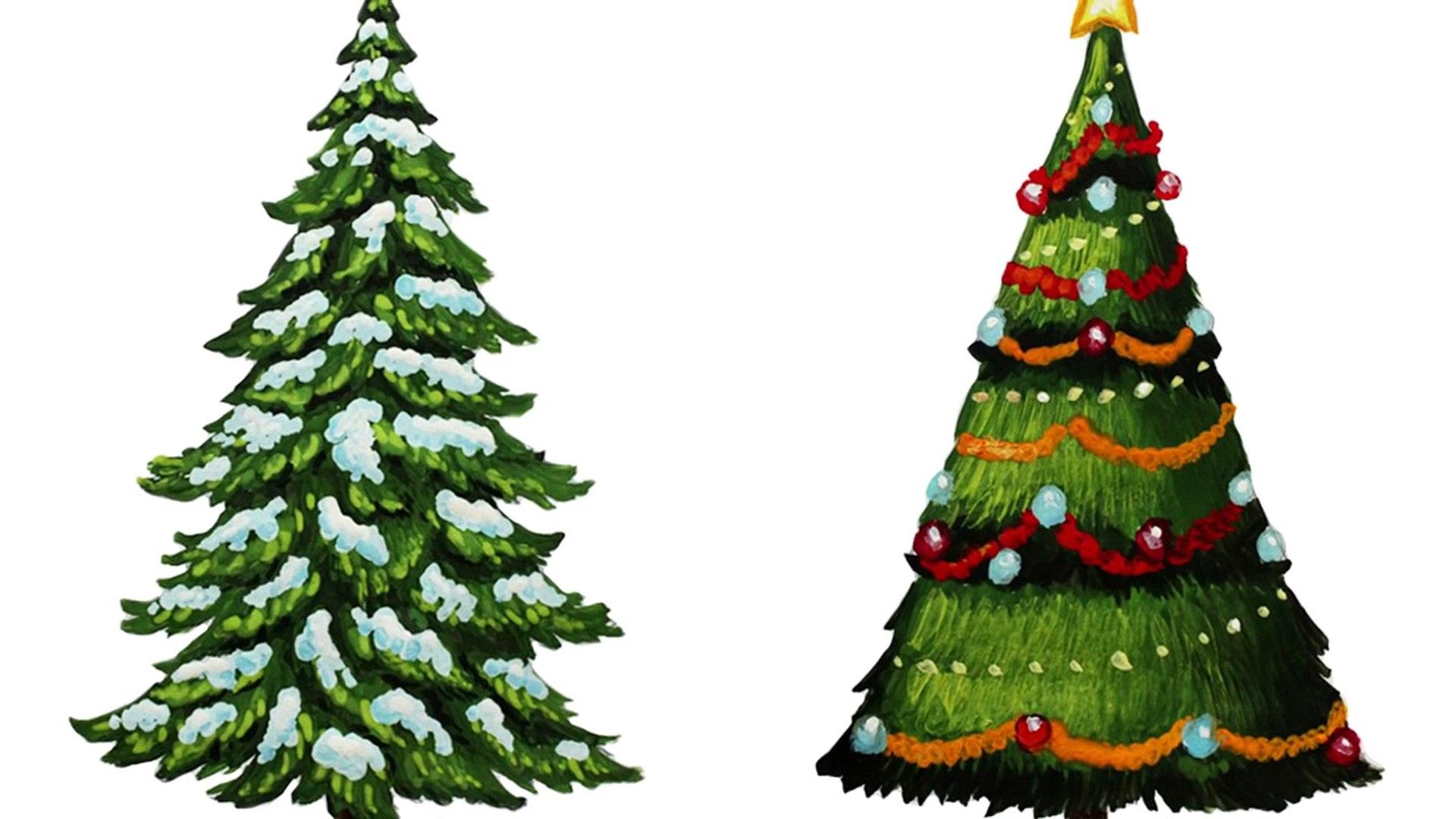 Уроки рисования. Как нарисовать елку. Ель поэтапно - How to draw Christmas Tree with Presents