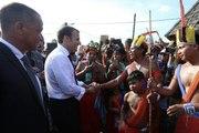 Intervention du Président de la République, Emmanuel Macron, lors de sa visite à Maripasoula en Guyane