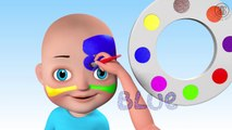 3D Face Painting - Baby Body Paint & Learn Colors with Finger Family Nursery Rhymes Animation