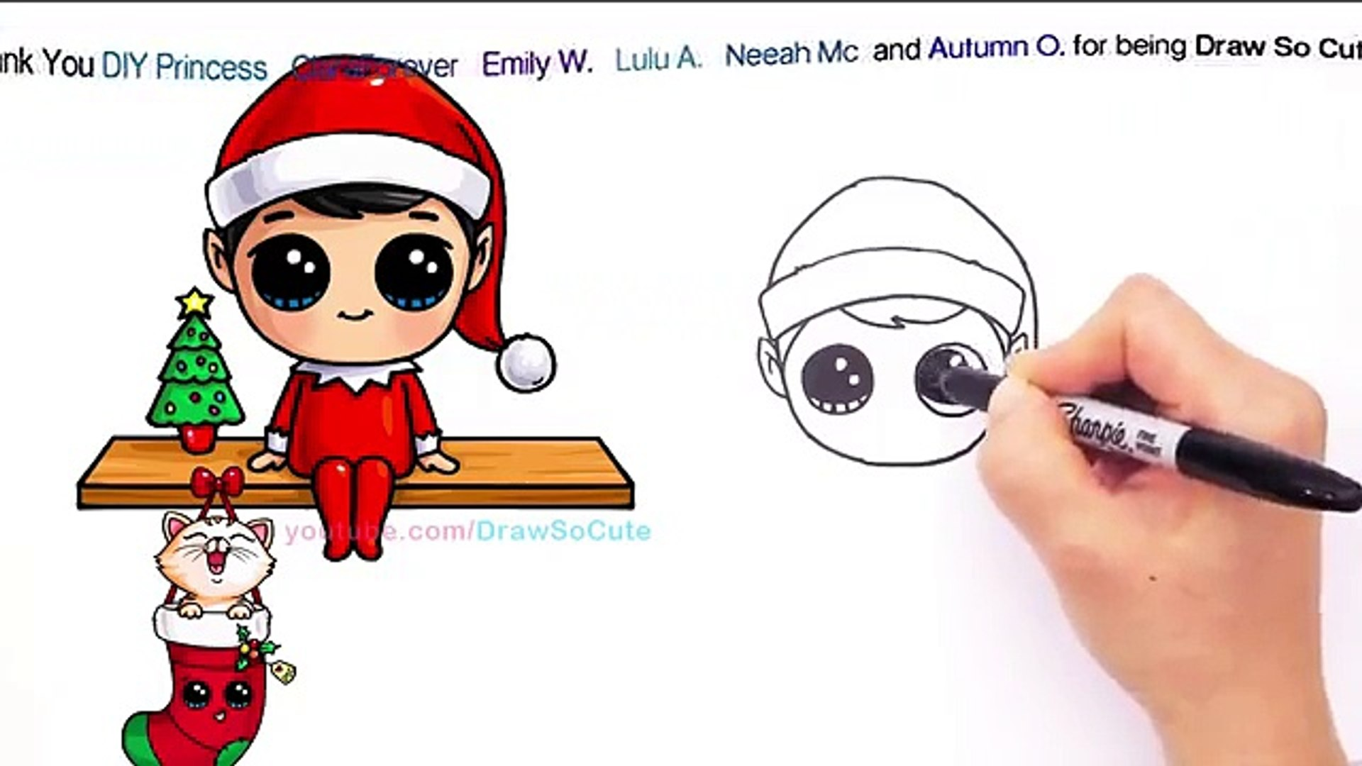 How To Draw Elf On The Shelf Cute Step By Step Christmas Holiday Charers
