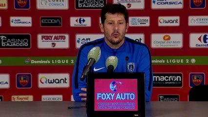 Conférence de presse GFC Ajaccio - Paris FC (1-0) : Fabien MERCADAL (PFC) - Albert CARTIER (GFCA) - 2017/2018