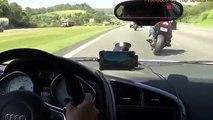 Audi R8 vs Kawasaki Ninja ZX10R vs Suzuki GSXR1000 Top Speed 300km/h