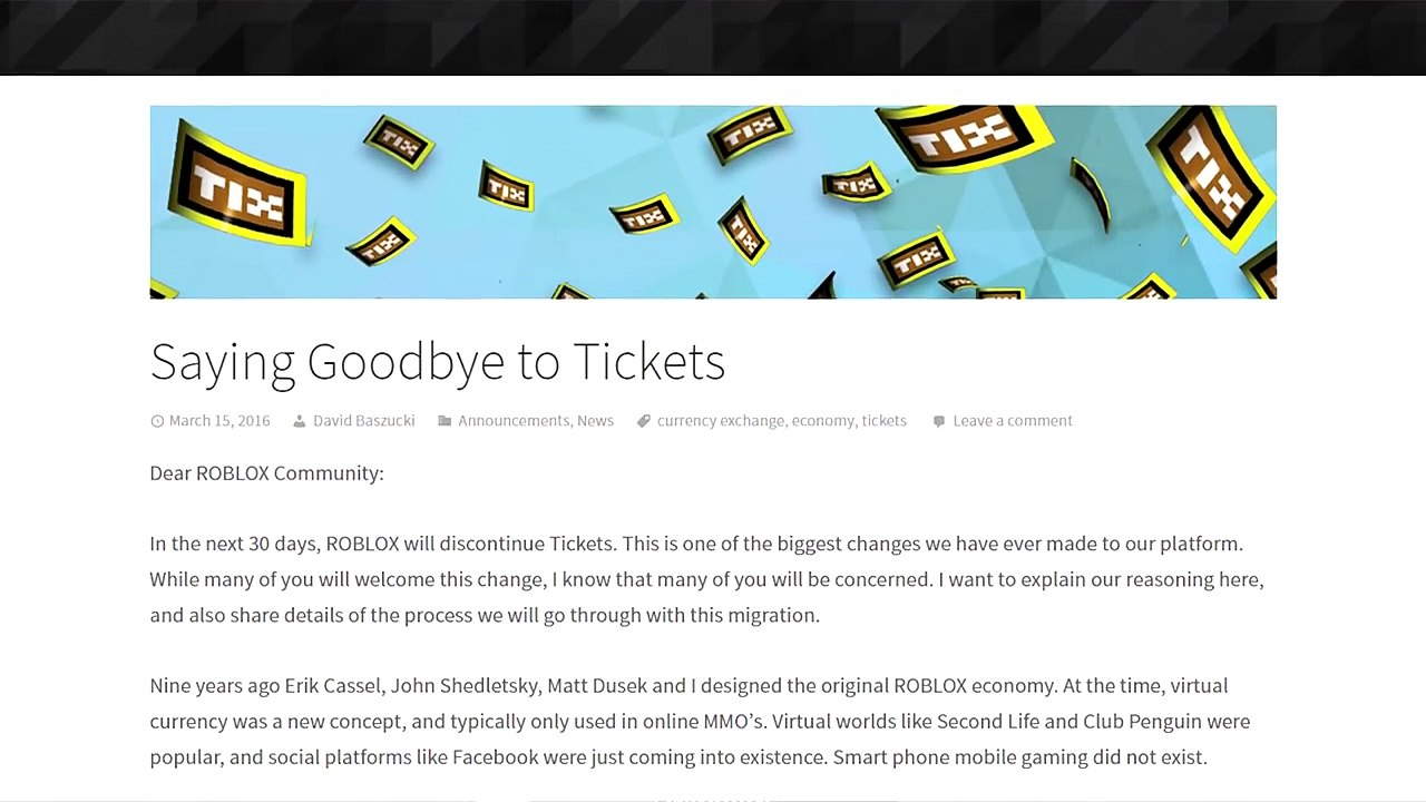No More Tix Roblox Discussion Video Dailymotion
