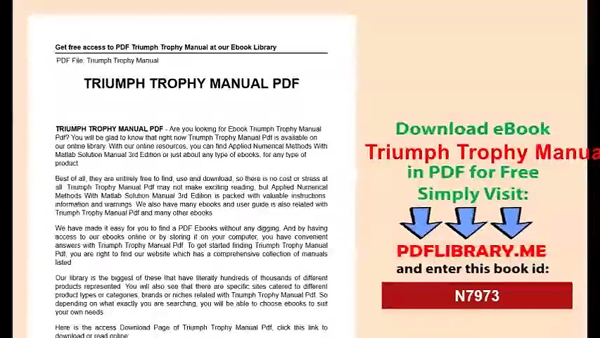 Triumph Trophy Manual