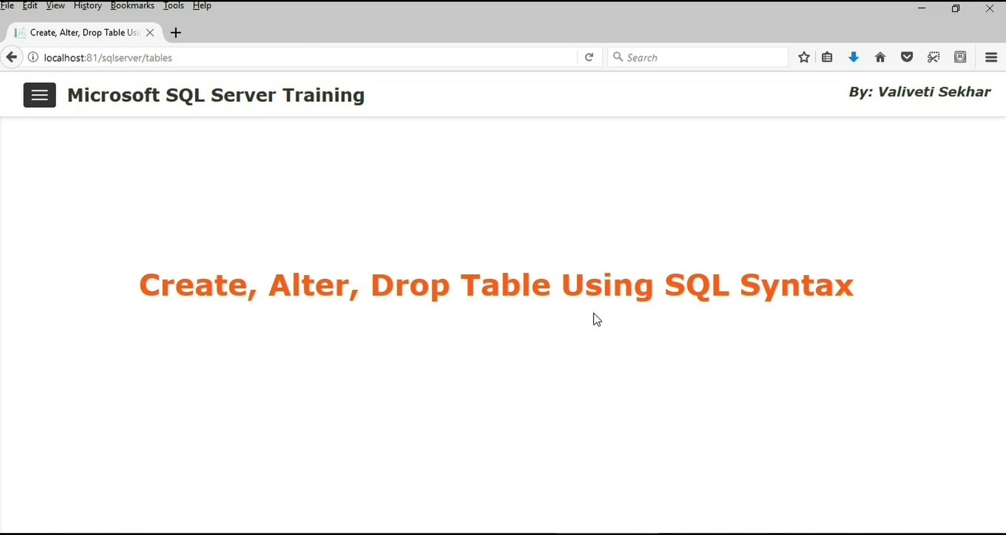 Microsoft Sql Server 2017 Training Create Alter Drop Table