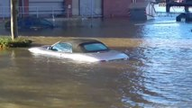 Cars Submerged in Storm Herwart Floodwaters in Hamburg
