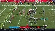 Tampa Bay Buccaneers DT Gerald McCoy explodes through Panthers' line to shut down running back Cameron Artis-Payne