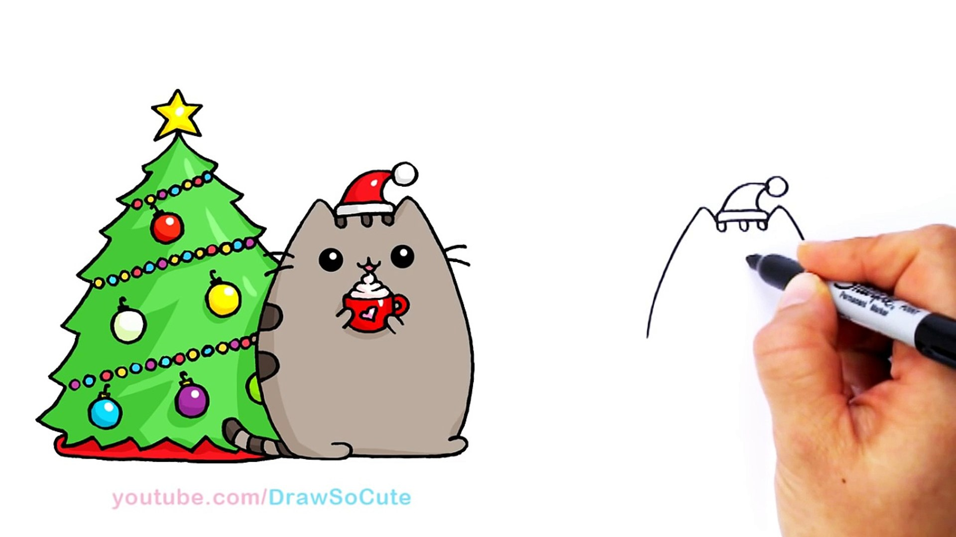 Christmas Pusheen.How To Draw Christmas Holiday Pusheen Cat Step By Step Easy And Cute