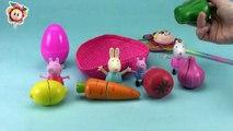 PEPPA PIG monta una frutería con sus amigas y Huevo sorpresa / Aprender las frutas en inglés