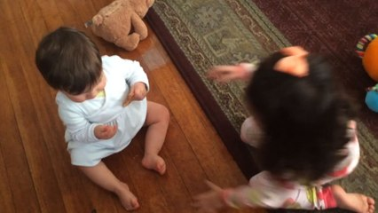 Babies Playfully Fighting