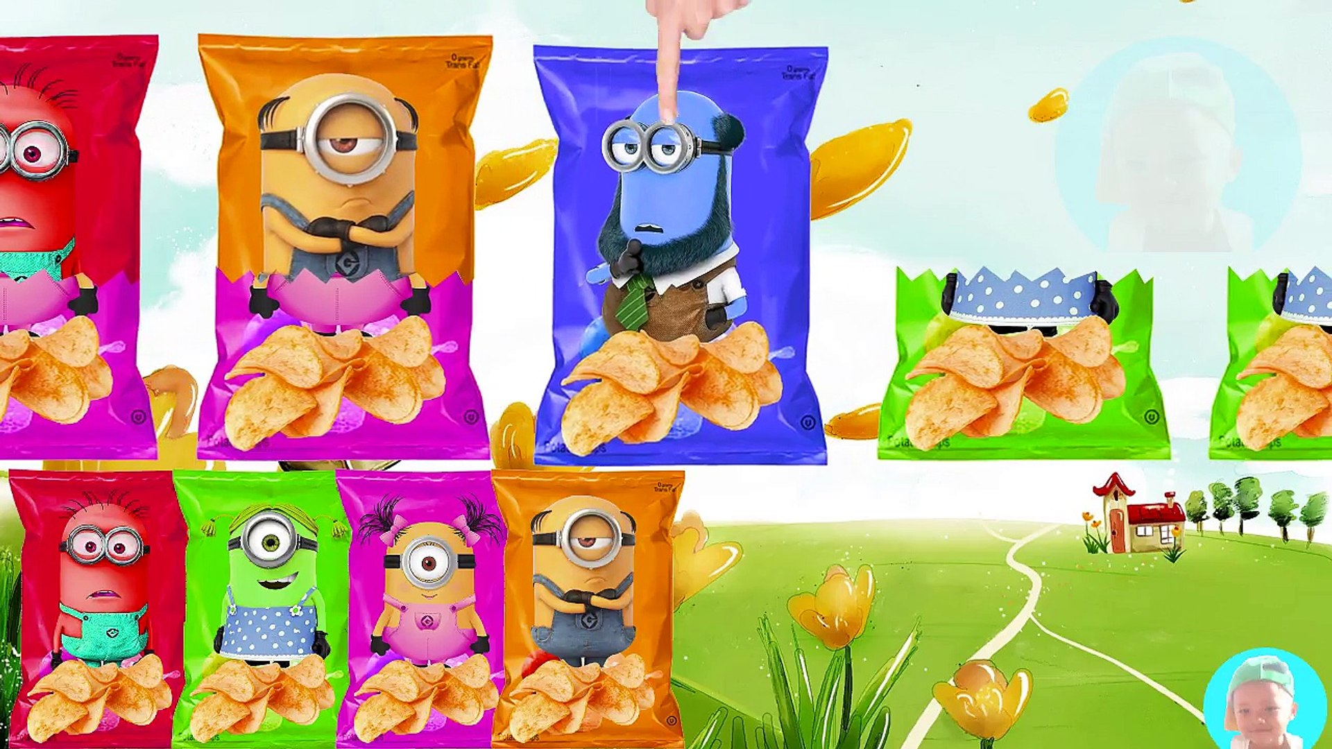 Wrong hEADS Minions BOB Mel Kevin Jerry Tim Tom Learn Colors with Potato Chips