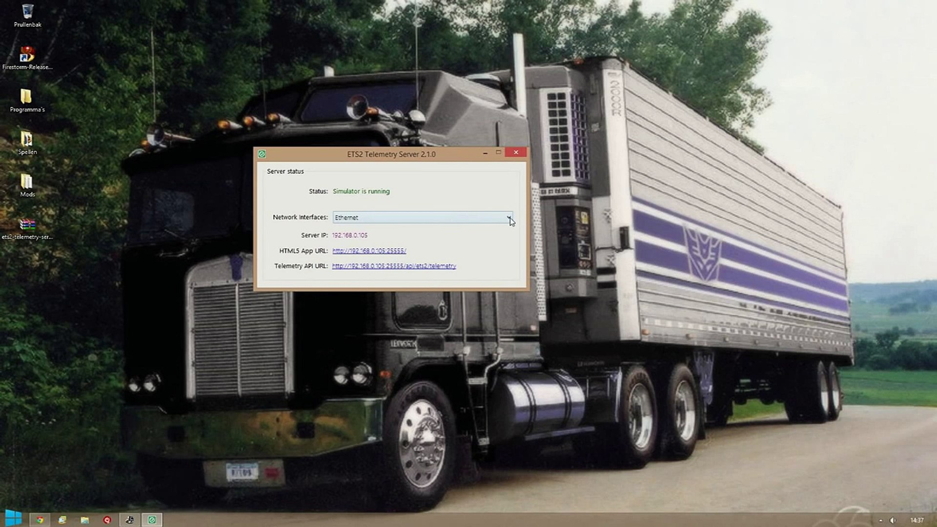 Euro Truck Simulator 2 Telemetry SDK Mobile Dashboard