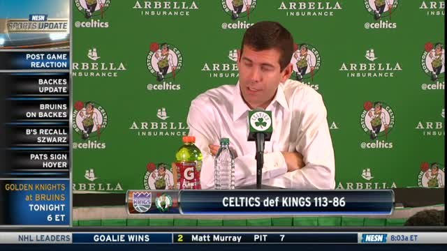 Brad Stevens, Kyrie Irving On The Celtics Bench Play