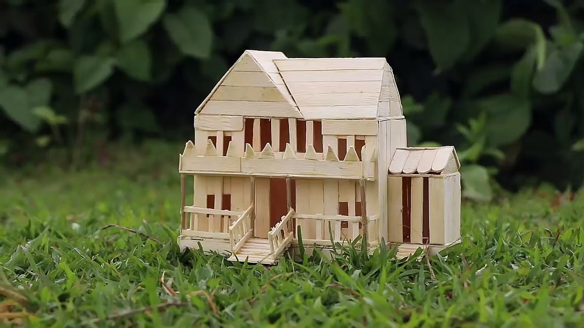 How To Make A Popsicle Stick House Very Easy Icecream Stick Crafts