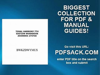 Bestseller: Tonal Harmony 7th Edition Workbook Answer Key Pdf