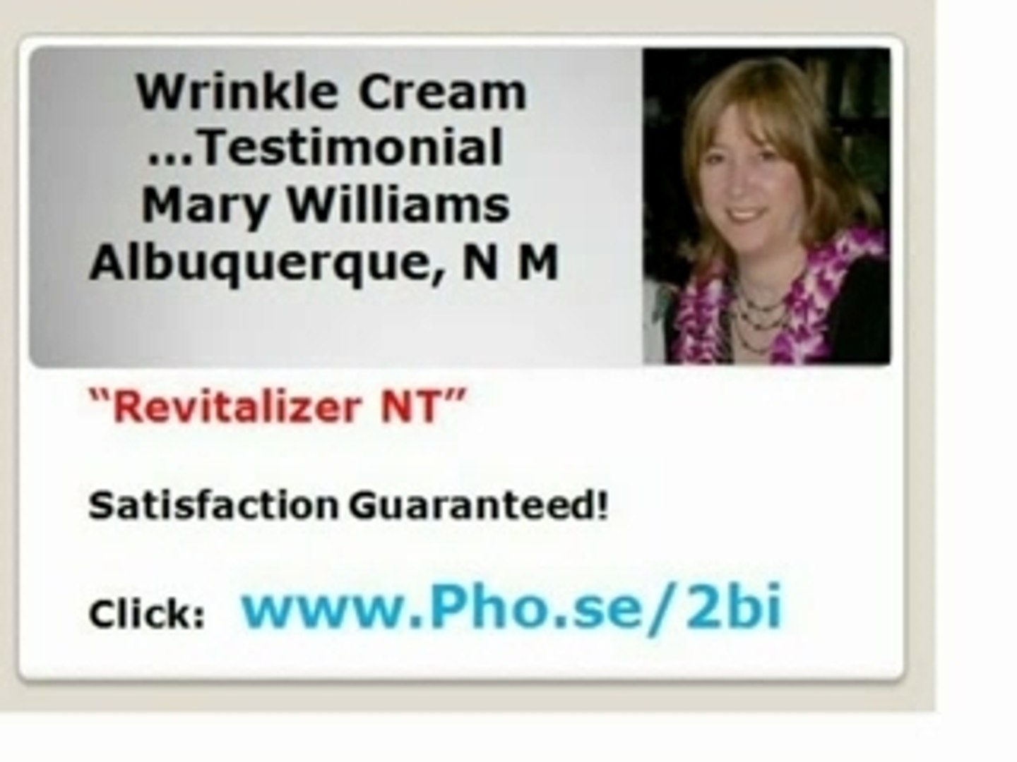Wrinkle Cream customer Mary Testimonial