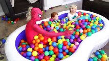 Giant Swimming Pool filled with Balls! Frozen Elsa and Frozen Anna & Spiderman vs Harley Quinn Prank