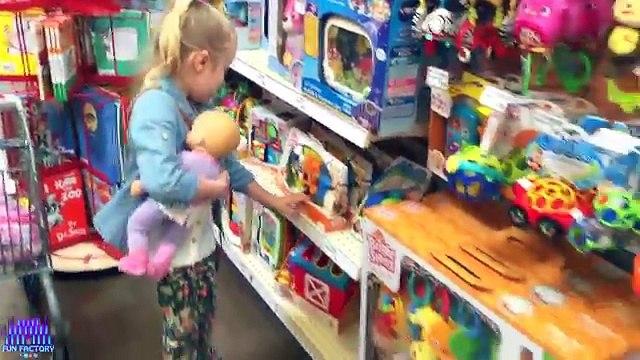 American Girl Bitty Baby Dolls Grocery Shopping Trip & Kid Size Shopping Cart W/ Play Doh Girl