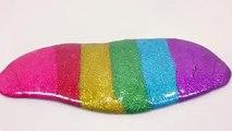 DIY How To Make Glitter Rainbow Rolls Clay Slime !! 반짝이 무지개 액체괴물 롤 만들기!! 흐르는 점토 액괴 클레이 슬라임 놀이