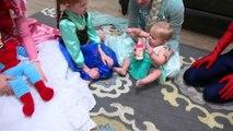 Baby Elsa Makes a Mess!! Food Challenge! Frozen Elsa and Disney Princesses food prank w/ spiderman