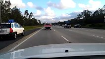 Un pigeon vole à la vitesse des voitures sur l'autoroute
