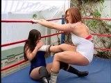 Beautiful American girls wrestling match body lock and body scissors. Bikiyni women's wrestling match