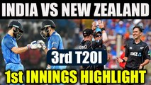 India vs NZ 3rd T20I : India set target of 67 for Kiwis to chase in 8 overs | Oneindia News