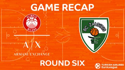 EuroLeague 2017-18 Highlights Regular Season Round 6 video: AX Milan 62-94 Zalgiris